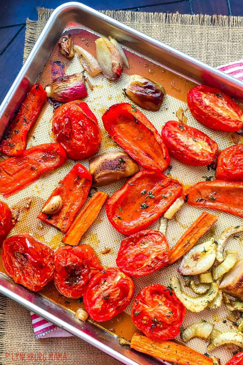 Pan of roasted veggies for the soup