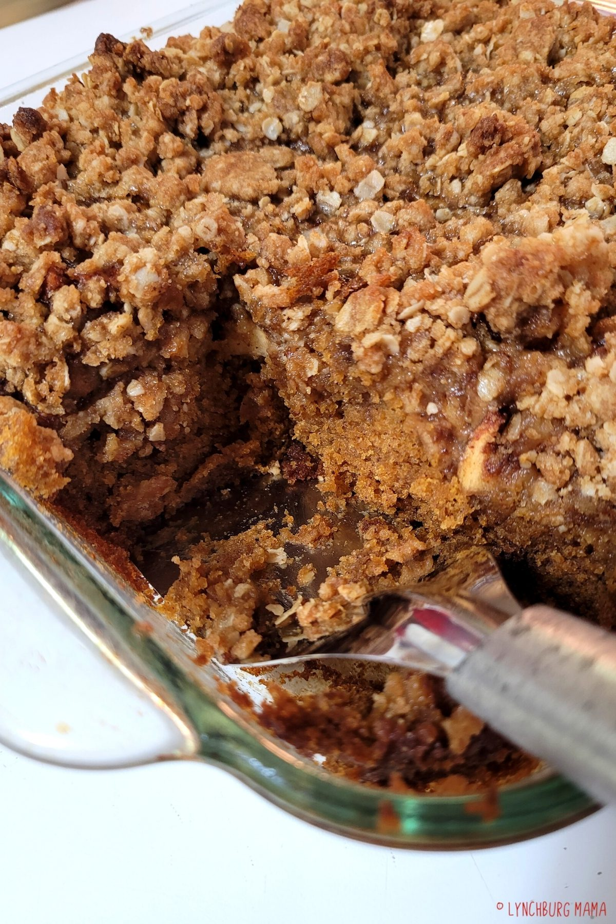 Scooping out some of the Apple Pumpkin Oat Cake