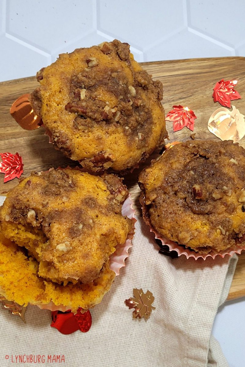 Muffins topped with crumble