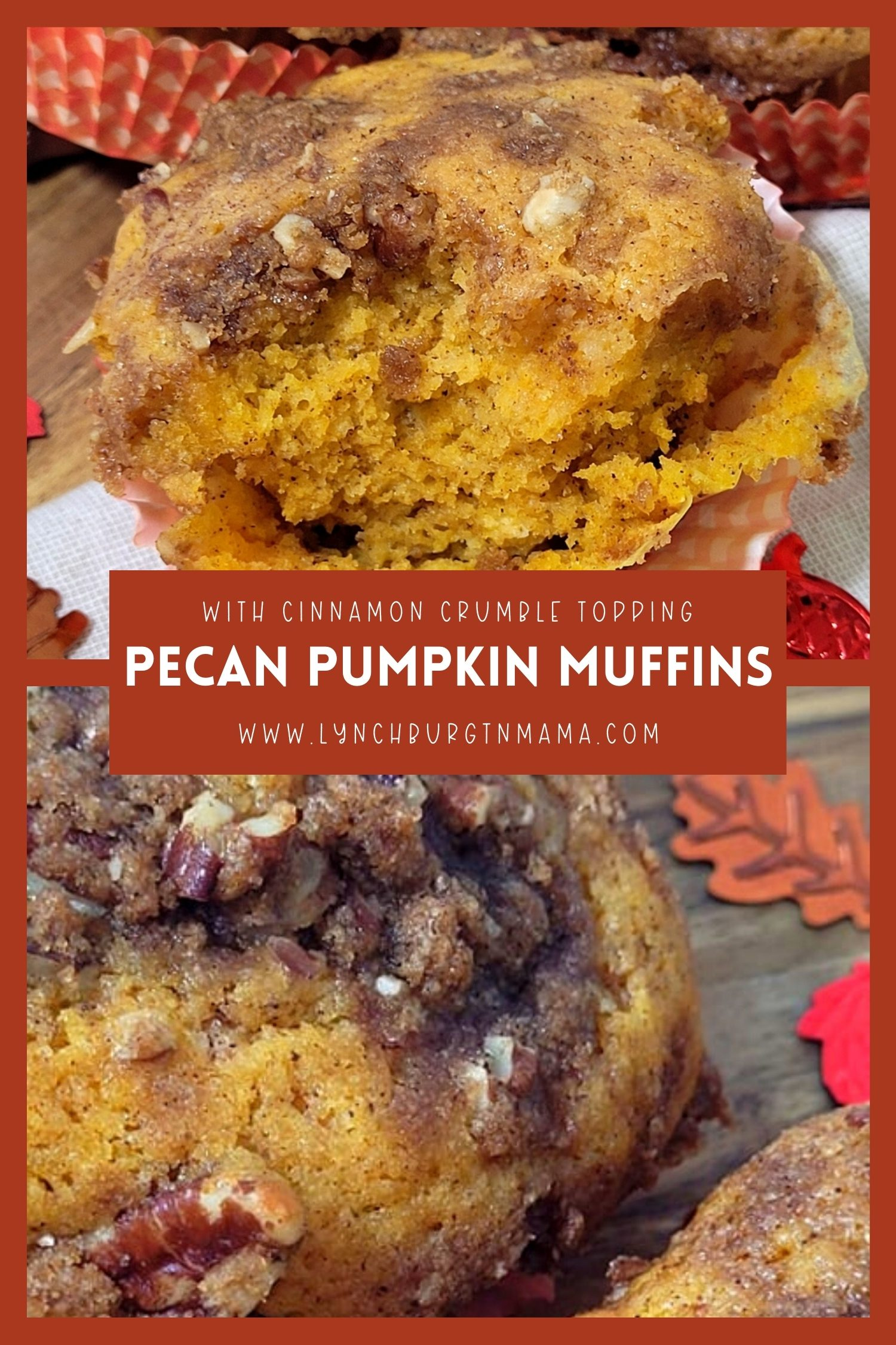 Pumpkin Pecan Muffins topped with a roasted Cinnamon Spice Crumble are the perfect way to welcome the fall! Enjoy the seasonal flavors in every bite.