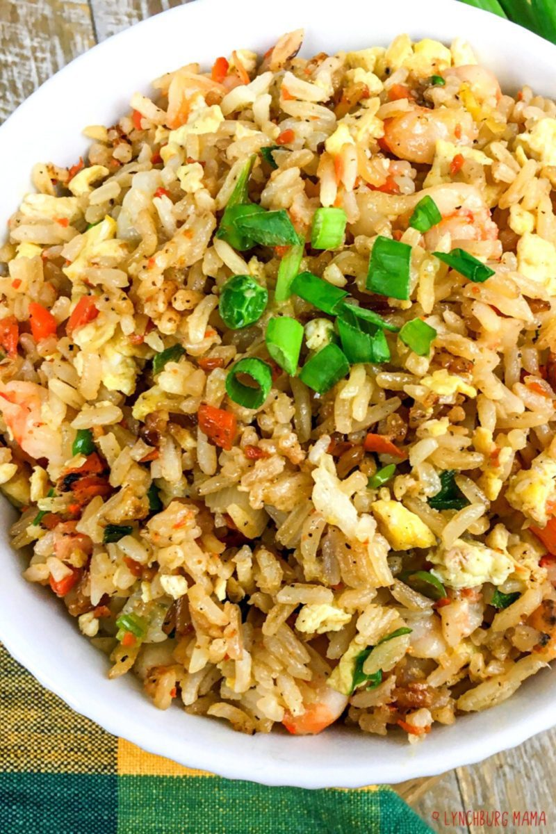 Top view of a bowl of Shrimp Fried Rice