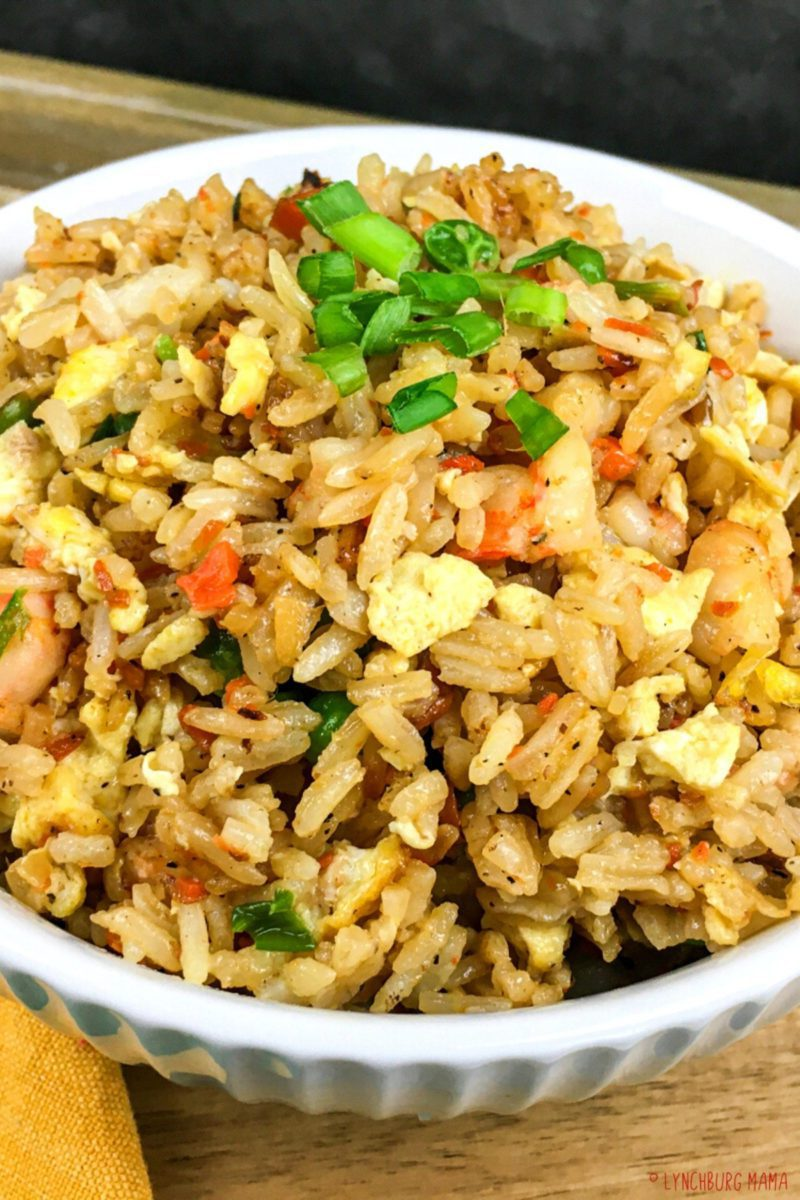 Delicious, flavorful dish of rice with shrimp and vegetables