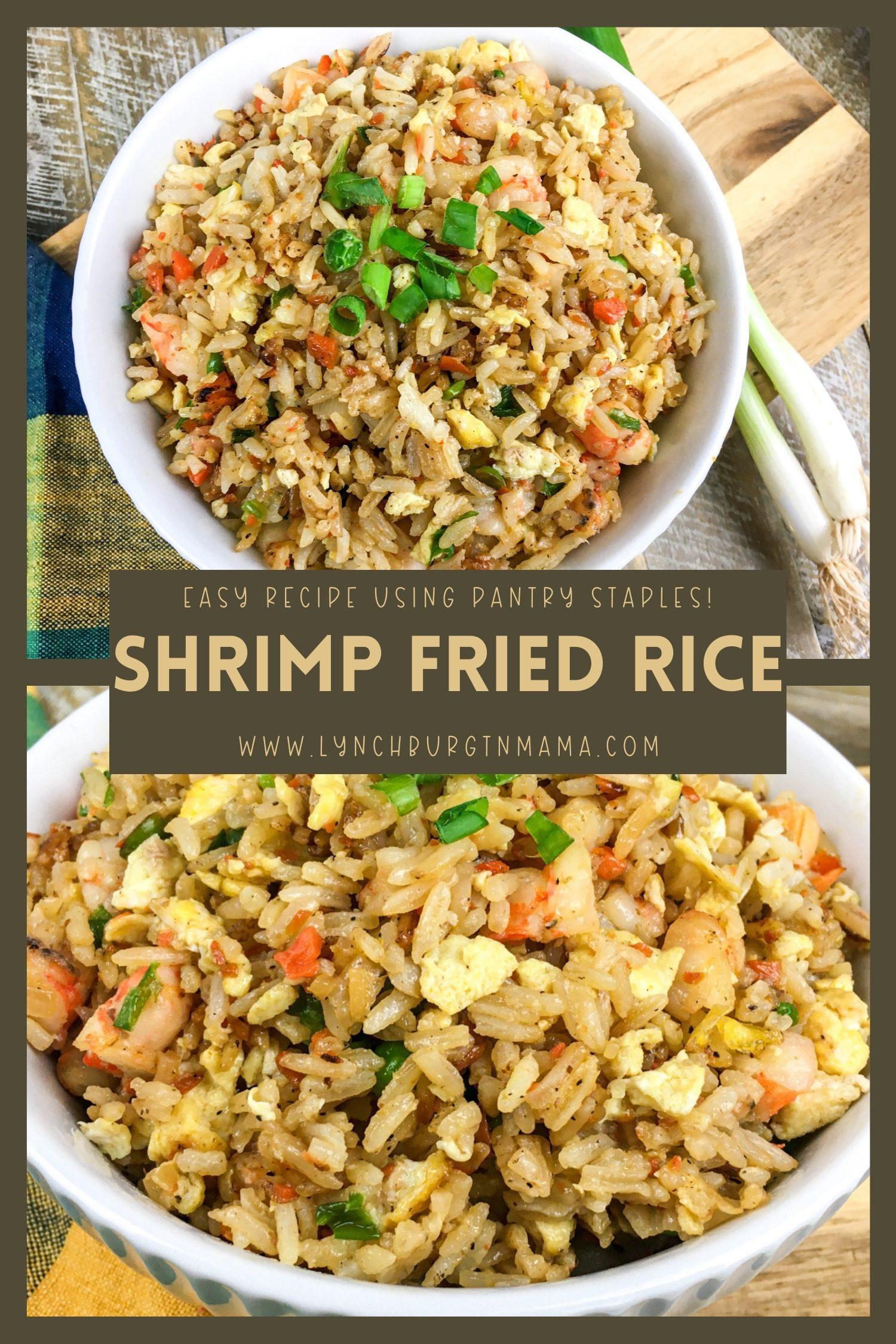 Shrimp Fried Rice is a classic dish that can be used as a main dish or side dish! The combination of rice, green peas, carrots, onions, and seasonings use pantry staples for a tasty meal!