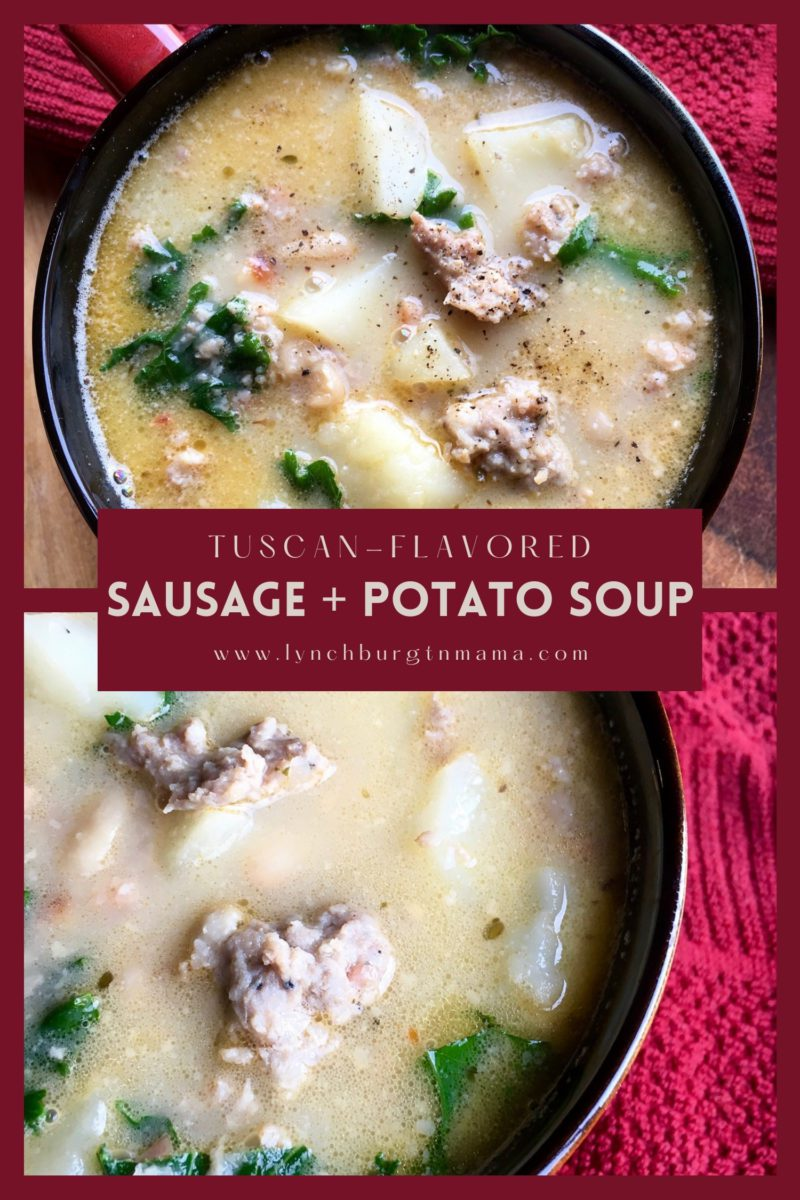 This rustic and hearty Tuscan Sausage and Potato Soup is substantial enough to serve as a main course. The sausage and seasonings add a lot of flavor, while big chunks of potato make for a satisfying meal. Pair with a crisp, green side salad and dinner is served!
