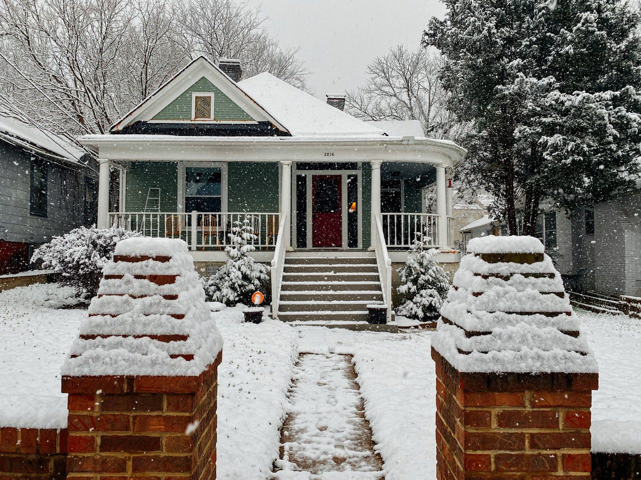 Home covered in snow in the winter