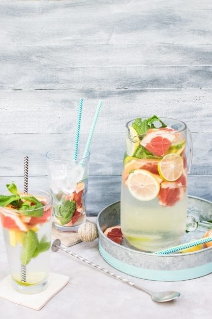Make your water more interesting by infusing it with lemon, lime, cherries, strawberries, lavender, and even cucumbers.