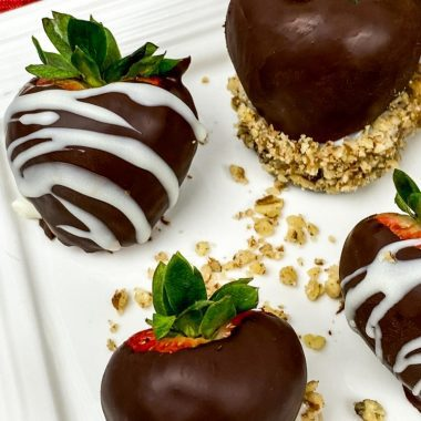 Up close view of chocolate covered strawberries